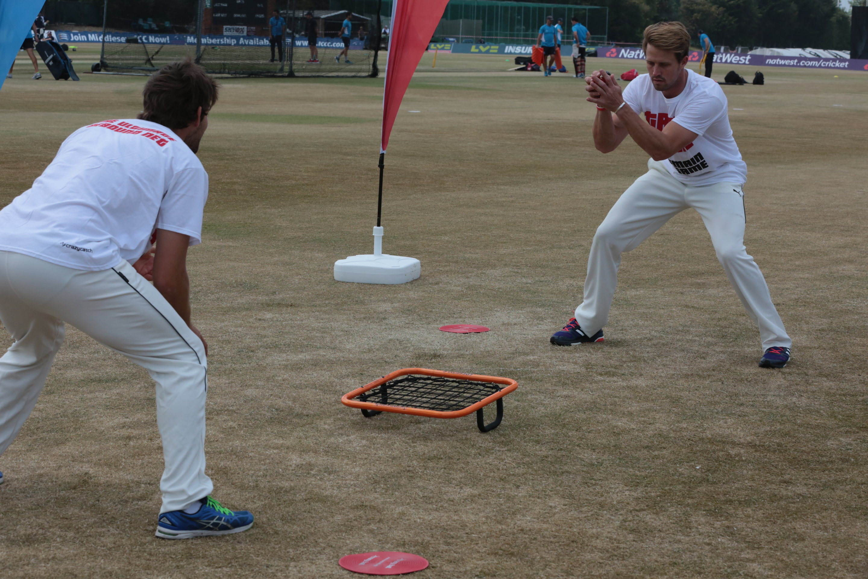 Nick Compton and Joe Burns compete in Freestyle Tennis
